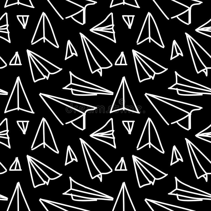 Paper plane seamless hand drawn pattern design. stock illustration