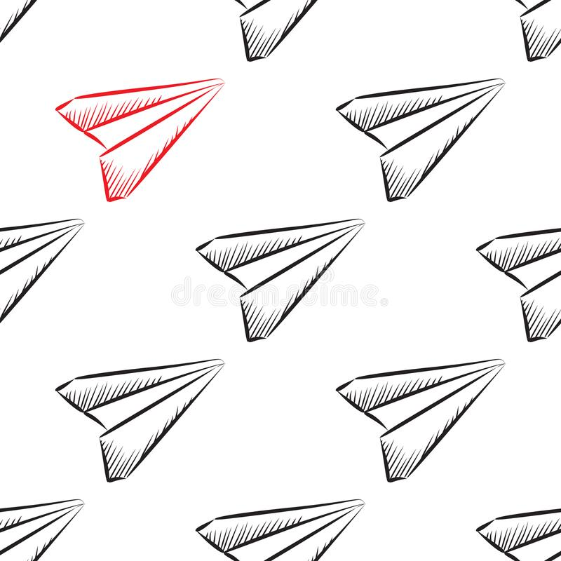 Paper Plane Seamless Pattern Stock Vector Illustration Of Object