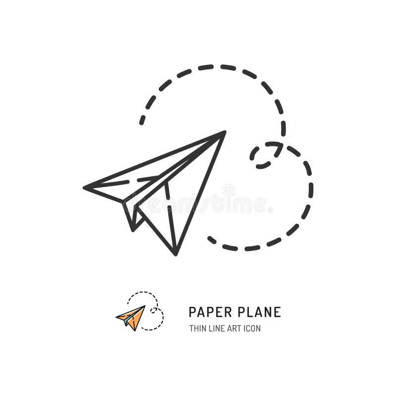 Paper plane thin line icon. Vector illustration. Paper plane thin line icon. Vector flat illustration royalty free illustration