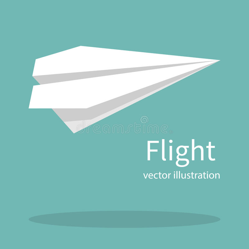 Paper plane vector. Paper plane. Handmade origami. Airplane flying template for web design. Flying concept. Vector flat style isolated on background. Place for stock illustration