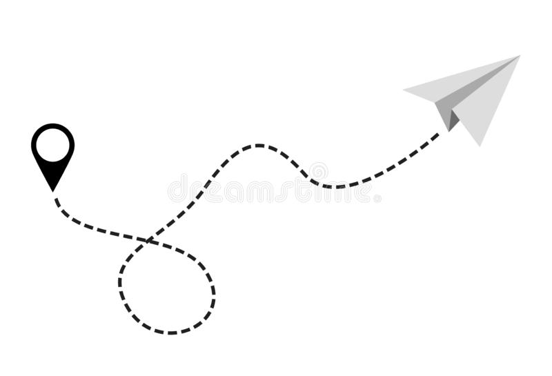 Paper Plane Vector with location symbol. vector illustration