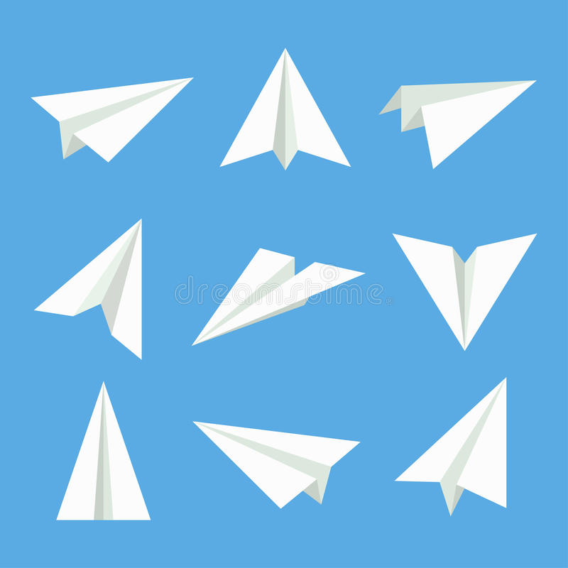 Paper plane vector set. Paper plane in flat style. Paper plane icon. Paper plane isolated from background. Origami plane collection. Handmade paper plane royalty free illustration