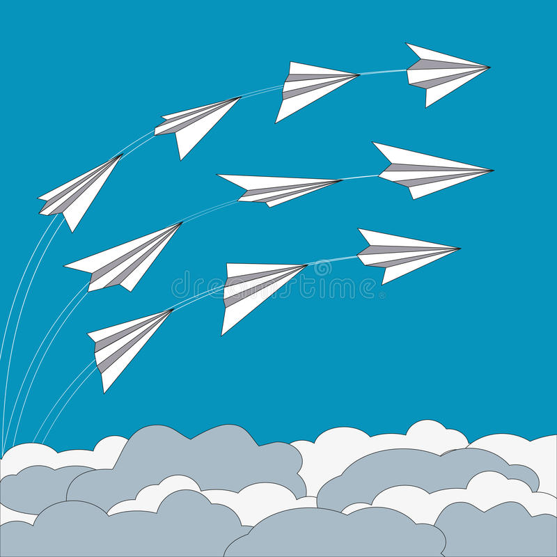 Paper planes concept stock illustration