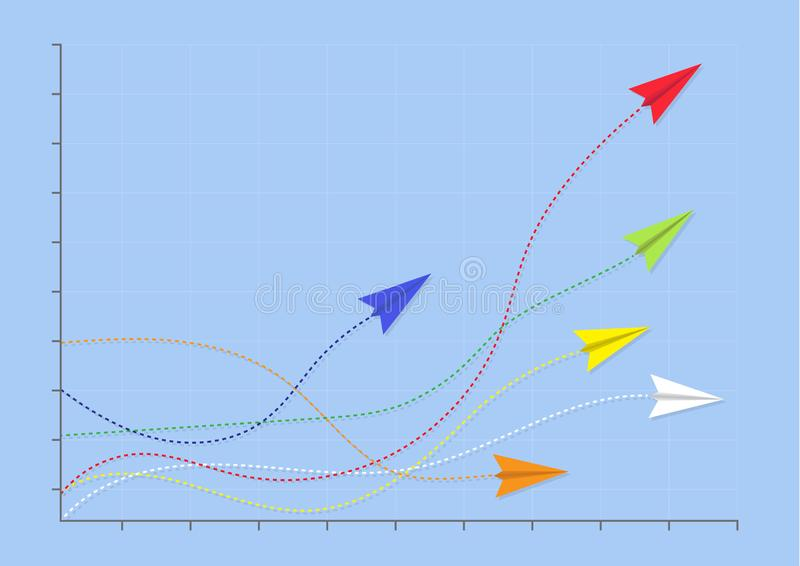 Planes on graph with red plane on top performance,  business competition leadership ambitious successful goal achievement concept. Paper planes on line graph royalty free illustration