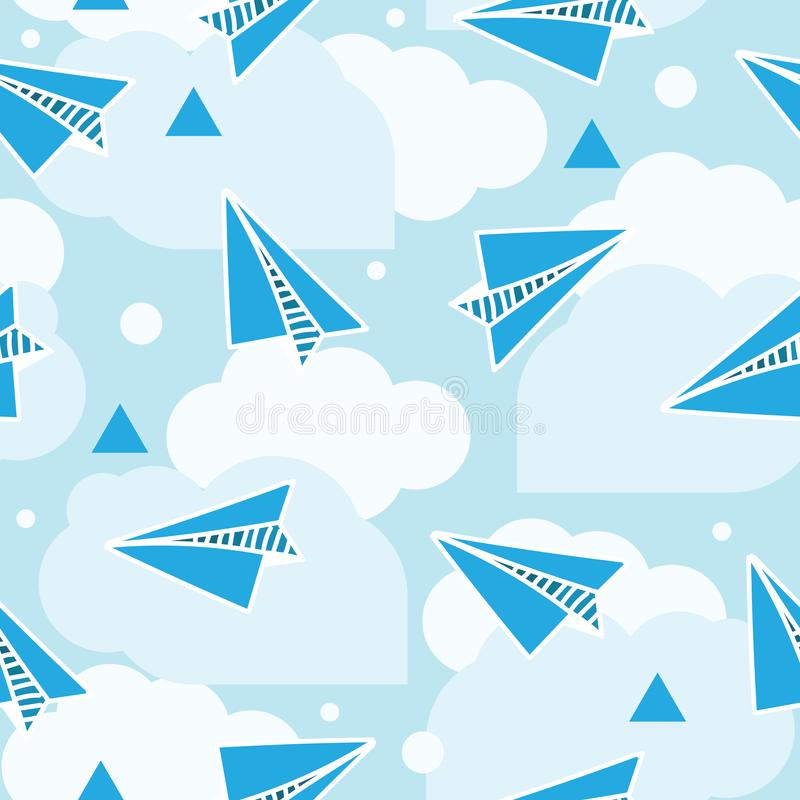 Paper planes seamless pattern. Abstract background with origami airplanes and round clouds. vector illustration
