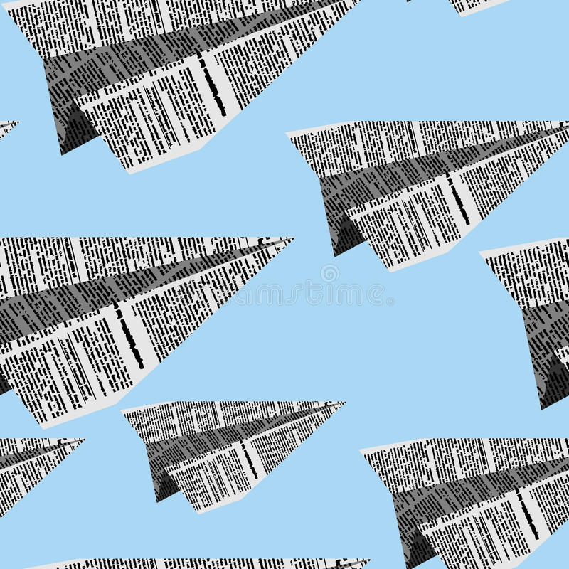 Paper planes seamless pattern on a blue background. Vector ornam stock illustration