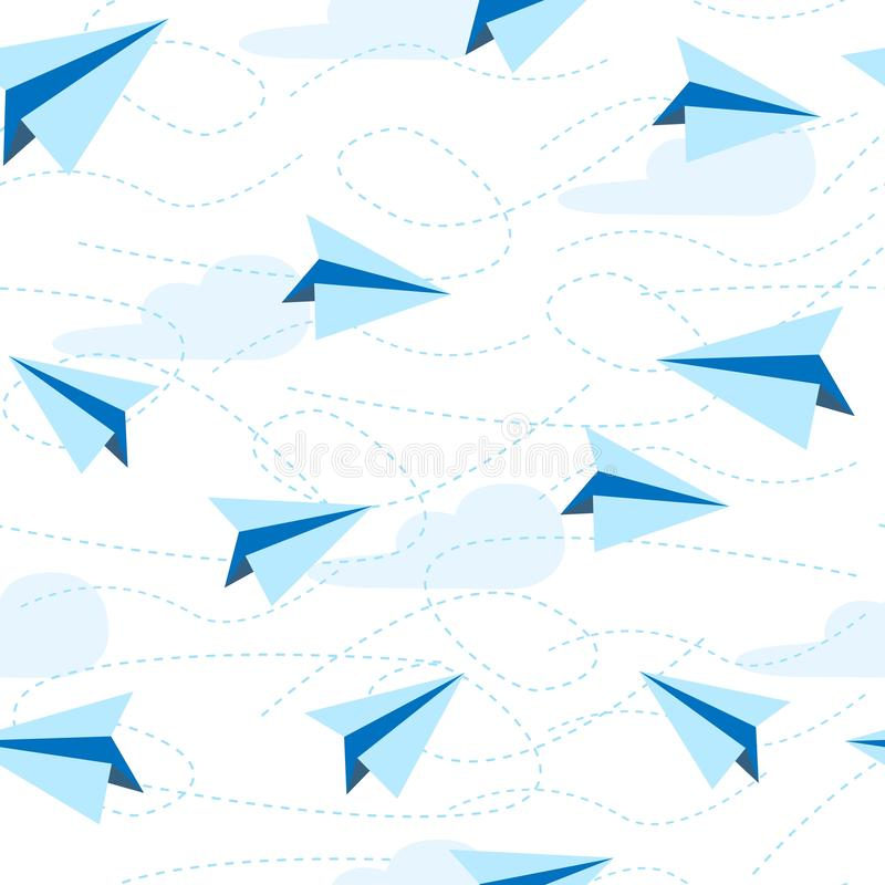 Paper planes seamless pattern. paper airplane background. Travel, route symbol stock illustration