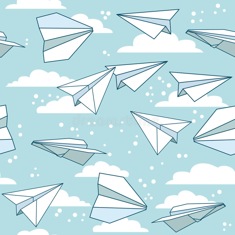 Paper planes seamless pattern texture. Paper planes seamless pattern texture stock illustration