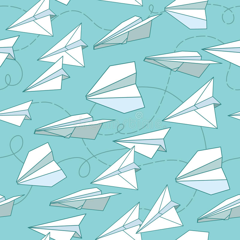 Paper planes seamless texture. royalty free illustration