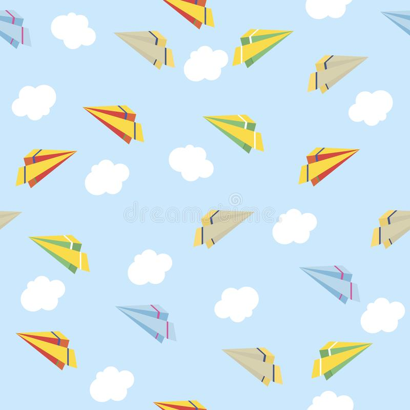 Paper planes seamless texture. Cute background. Vector illustration vector illustration
