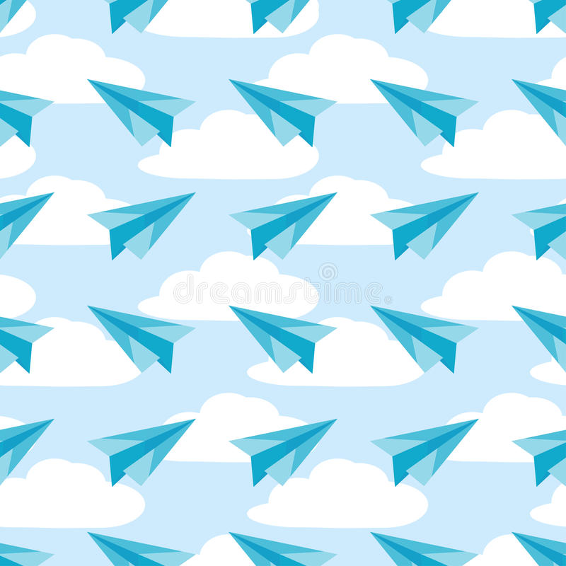Paper planes on the sky with clouds seamless pattern. Airplanes vector royalty free illustration