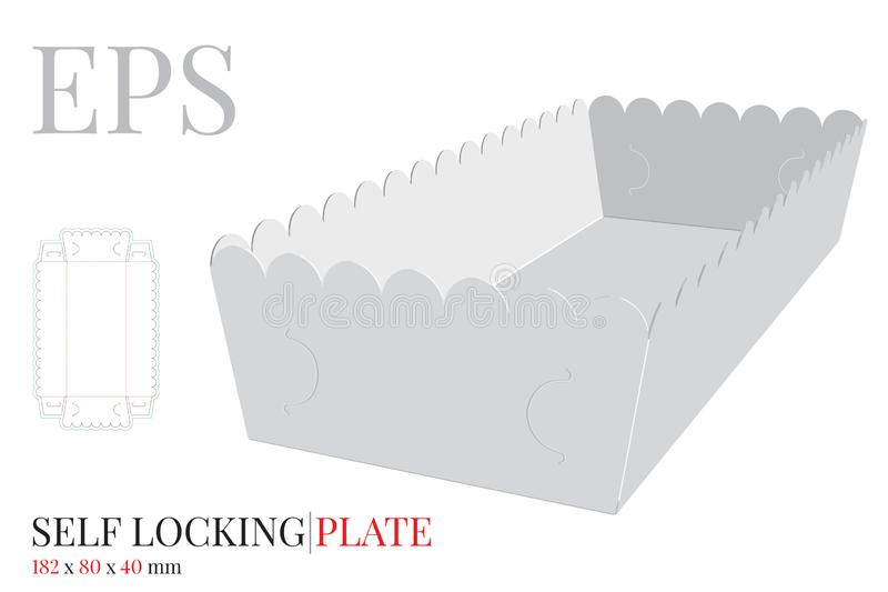 Paper Plate Template. Vector with die cut / laser cut lines. Self Lock Packaging Design without glue. French Fries Plate royalty free illustration