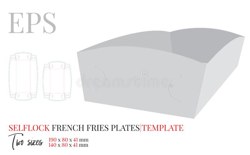 Paper Plate Template. Vector with die cut / laser cut lines. Self Lock Package Design without glue. French Fries Plate vector illustration