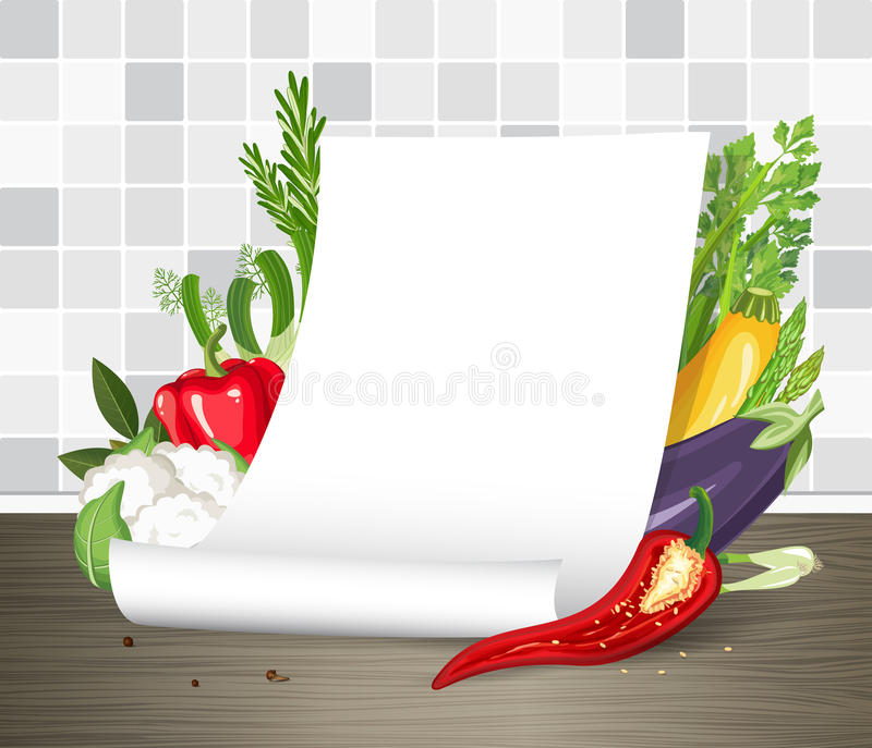 Paper poster or parchment scroll with vegetables. Restaurant menu or recipe template. Note page. Vector mock up. Paper poster or parchment scroll with vegetables stock illustration