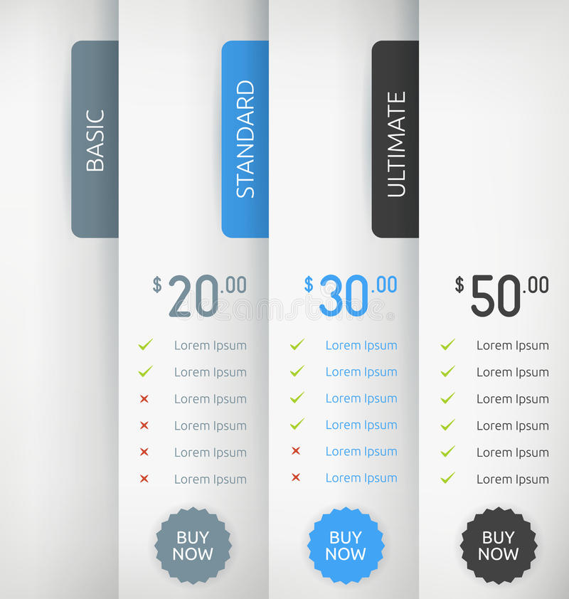 Paper Pricing Tables stock illustration