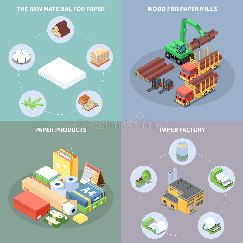 Paper Production Concept Icons Set royalty free illustration