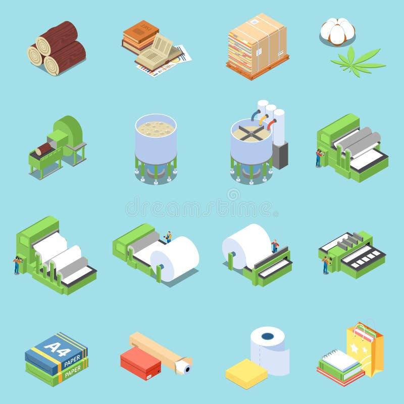 Paper Production Icons Set stock illustration