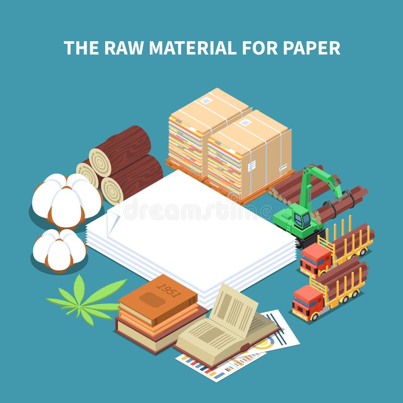 Paper Production Isometric Background vector illustration