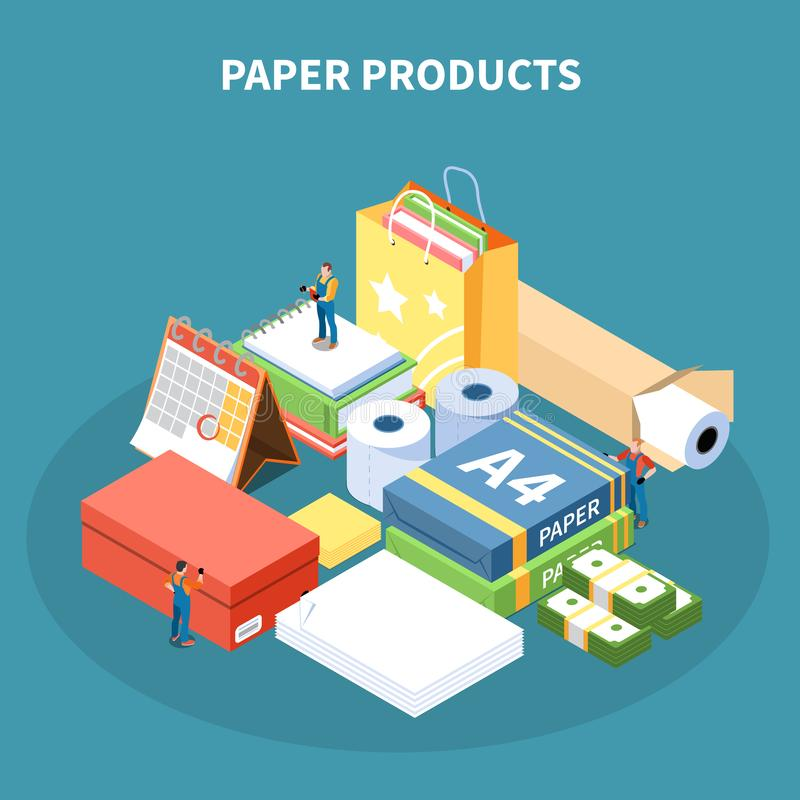 Paper Products Isometric Design Concept vector illustration