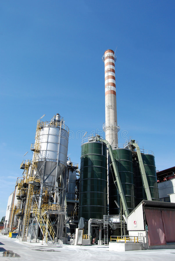 Paper and pulp mill - Cogeneration power plants stock image