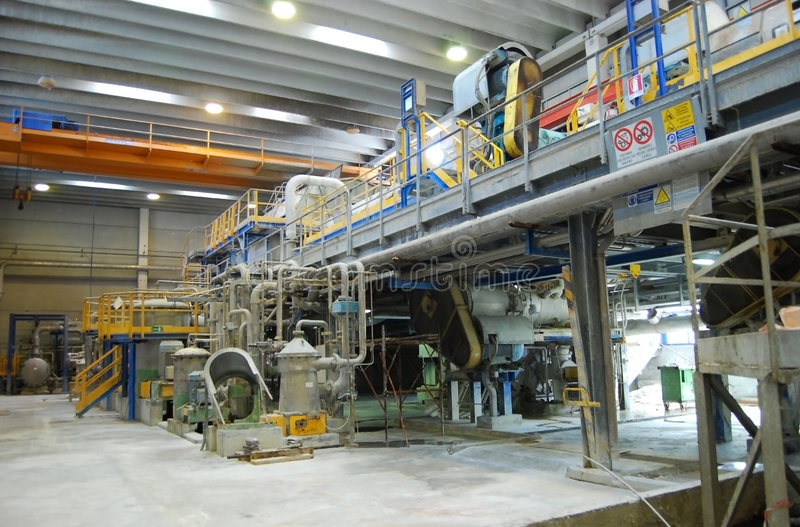 Paper and pulp mill - De-inking plants stock images
