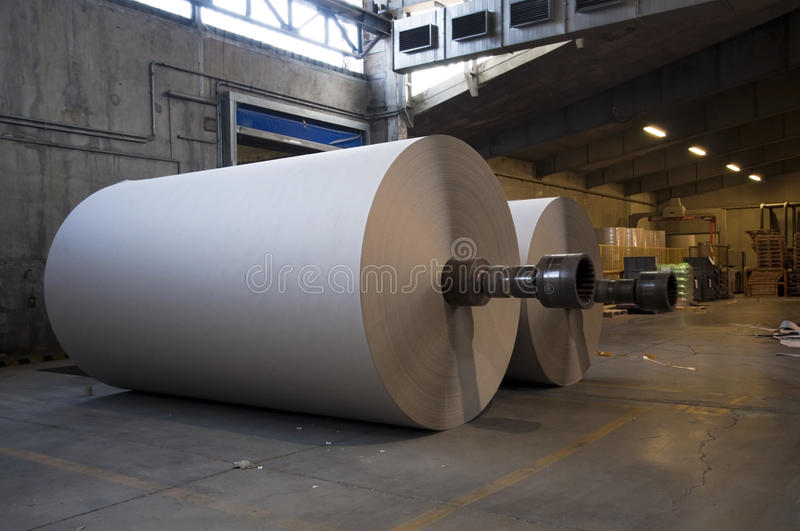 Paper and pulp mill plant - Rolls of cardboard stock image