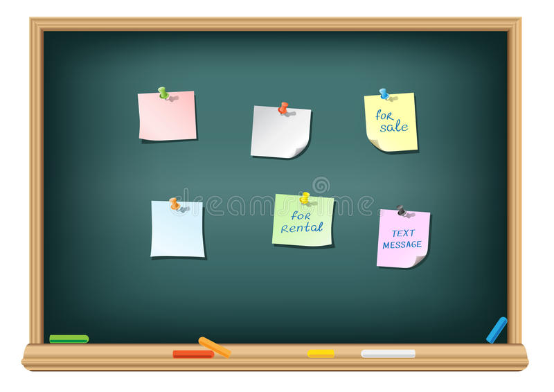 Download Paper And Pushpin On The Blackboard Stock Vector - Image: 19214583