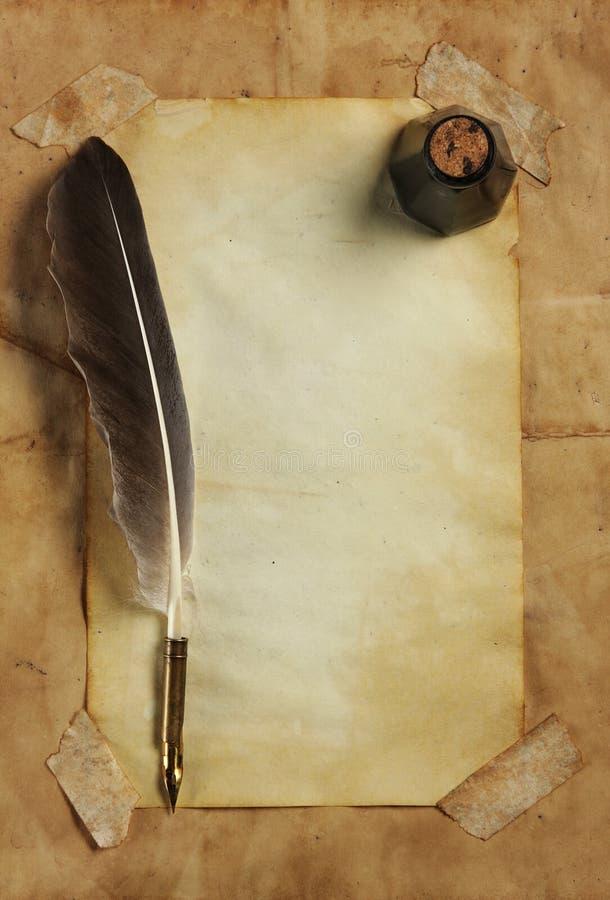 paper quill för färgpulver arkivfoto
