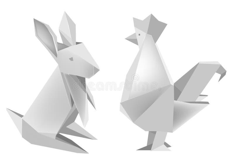 Paper_rabbit_and_rooster lizenzfreie abbildung