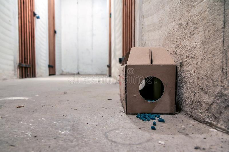 Paper rat trap with some pellets. A picture of a paper rat trap with some pellets with poison outside of the box. Dangerous to touch or eat royalty free stock photo