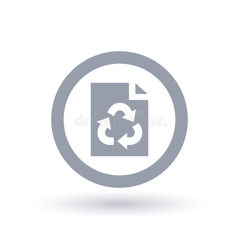 Paper page recycle icon. Office recycling symbol. Paper recycle icon in circle outline. Office recycling symbol. Recyclable page sign. Vector illustration royalty free illustration