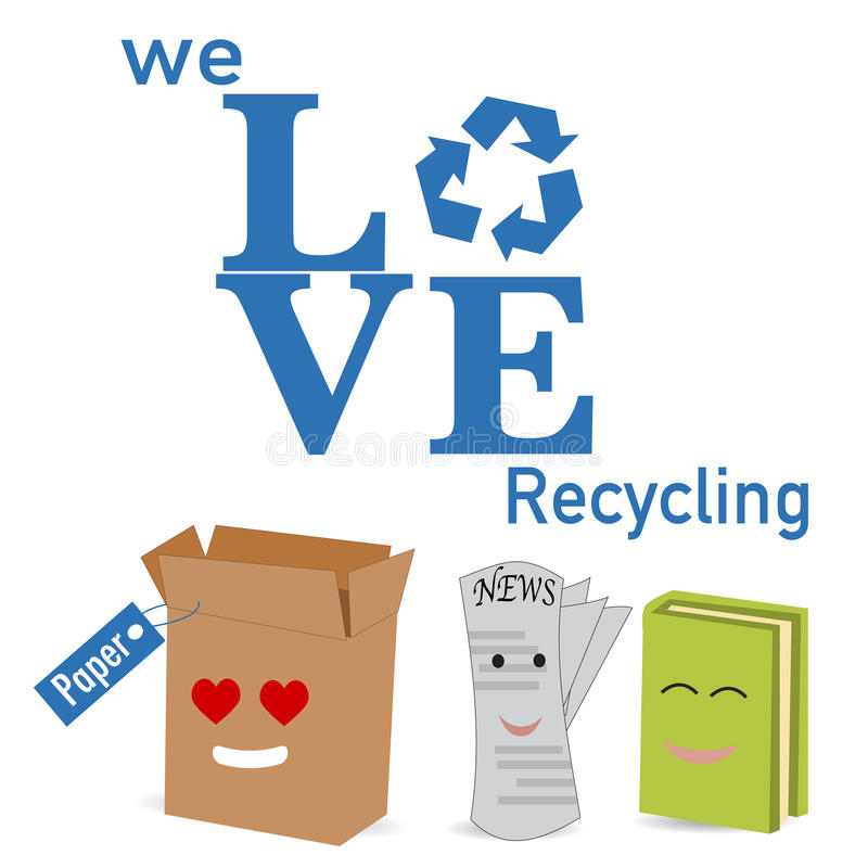 The paper recycle poster. On white background stock illustration