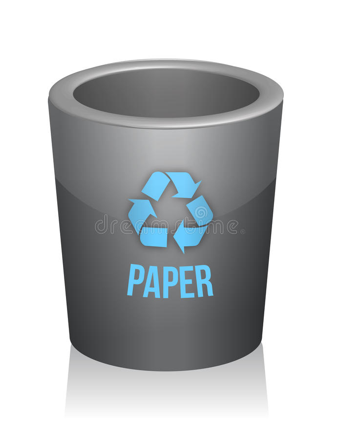 Paper recycle trashcan. Illustration design over white vector illustration