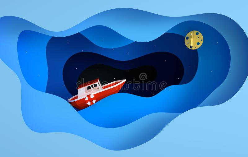 Paper red boat sailing in the ocean or sea, stars, moon, night travel concept. Blue sea waves layers. Modern paper art style 3d stock illustration