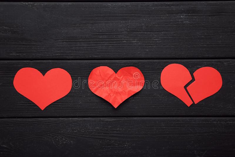 Paper red hearts royalty free stock image