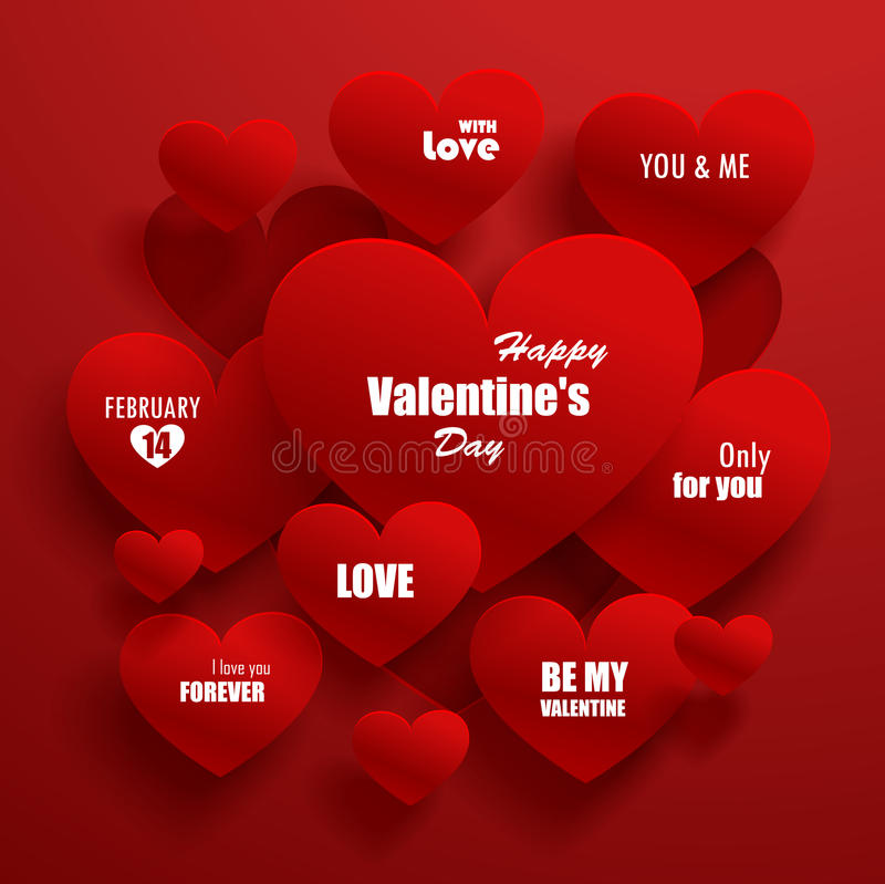 Paper red hearts with shadow royalty free stock image