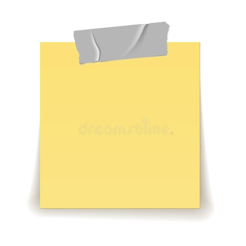 Paper reminder. Scotch tape strip piece stick on yellow important sheet realistic 3d isolated illustration stock illustration