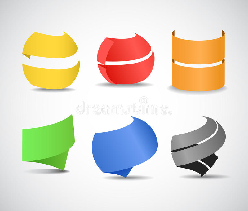 Paper ribbons set. Six color paper ribbons set royalty free illustration