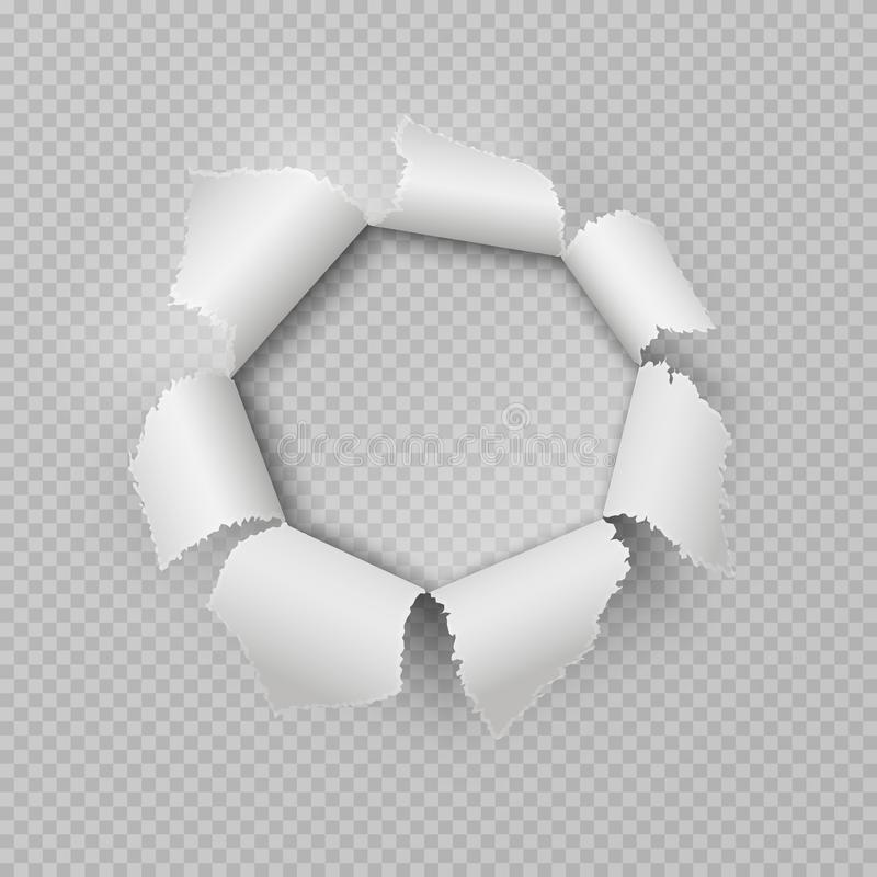 Paper rip hole. Realistic torn ragged gap poster damage edge ripped frame transparent bullet hole. Vector rip border. Design element stock illustration