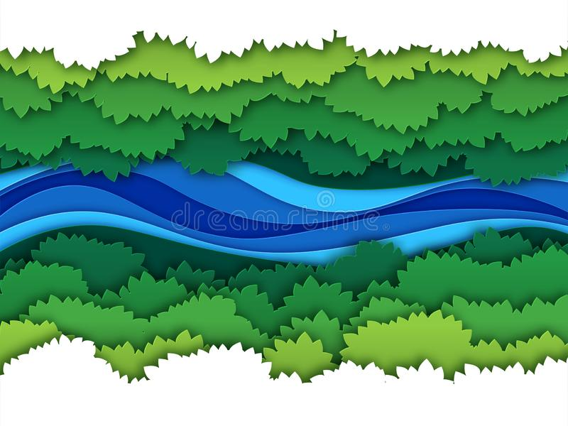 Paper river. Top view water stream surrounded by jungle forest trees baldachin. Creative origami natural aerial vector stock illustration