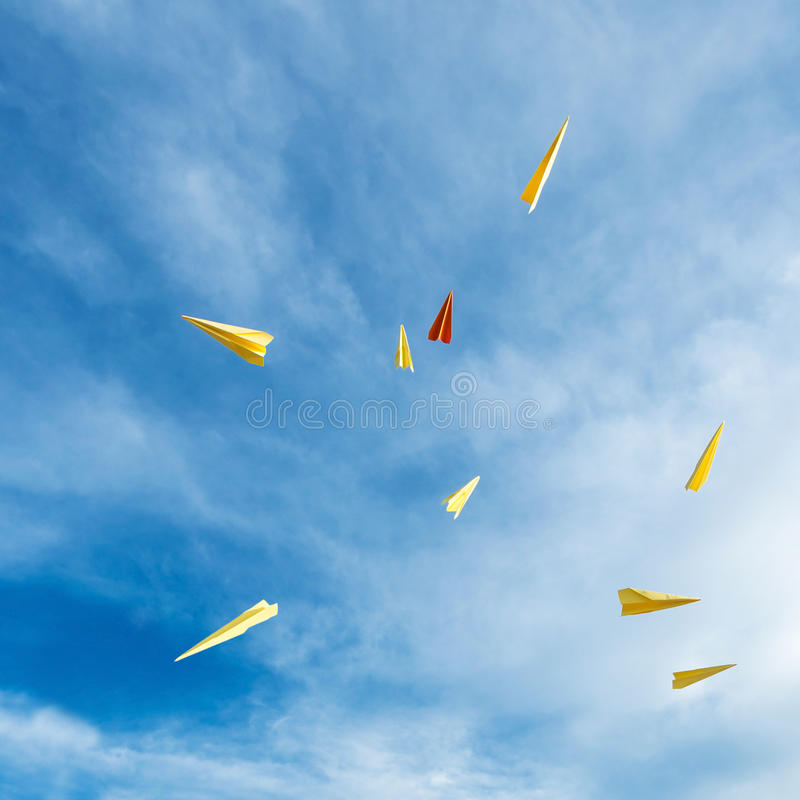 Paper Rockets Floating In The Sky Stock Photo