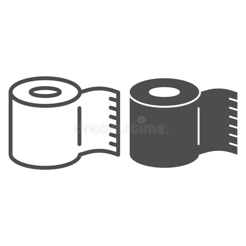 Paper roll line and glyph icon. Toilet paper recycling vector illustration isolated on white. Paper scroll outline style. Design, designed for web and app. Eps stock illustration