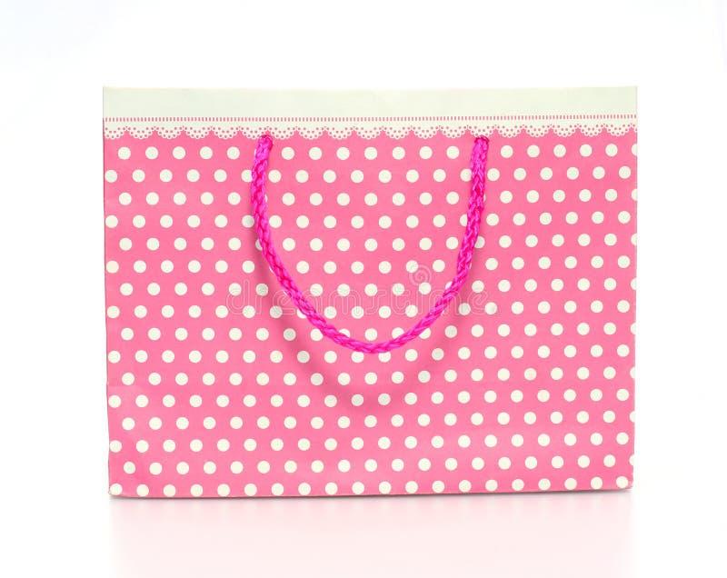 paper rosa shopping för påse arkivbilder