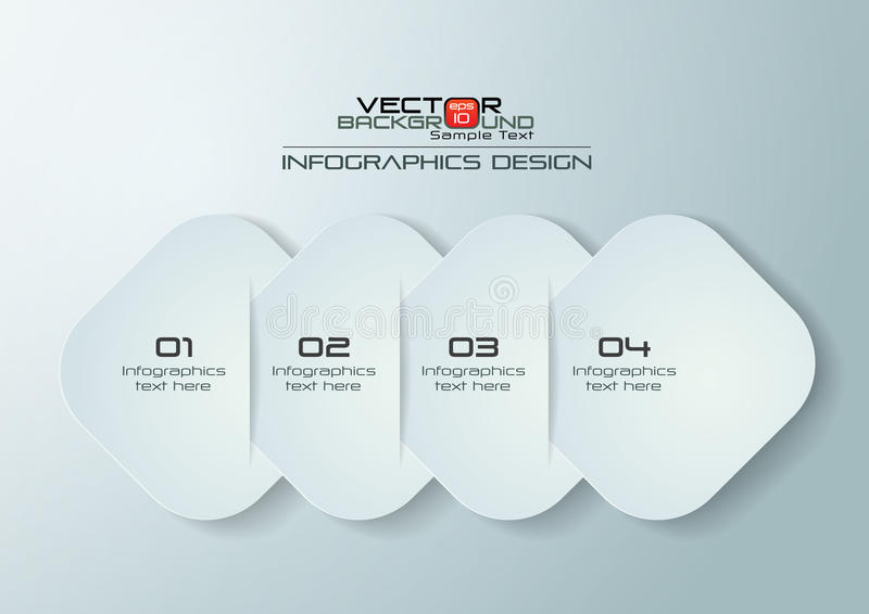 Paper Rounded Rectangles Infographics Design vector illustration