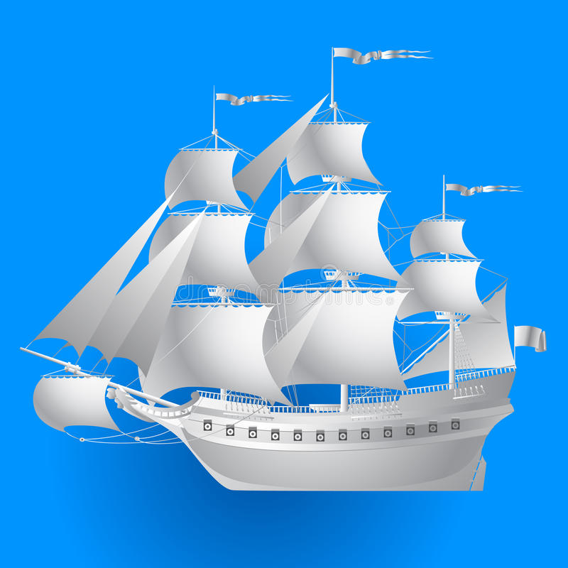 Paper sailing ship on blue background royalty free illustration