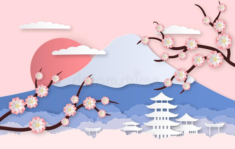 Paper sakura. Panorama landscape with japanese trees, garden flowers and hills. Paper cut style origami asia travel royalty free illustration