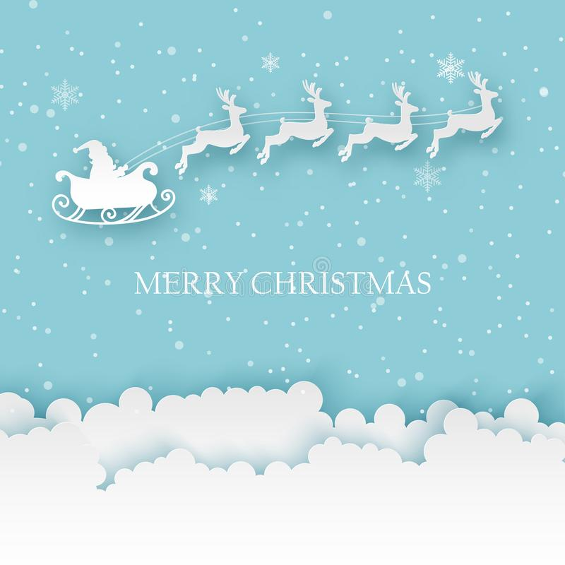 Paper Santa with deers flying in the sky. Merry Christmas and New Year. Background with fluffy clouds and snowflakes in modern paper art style vector illustration