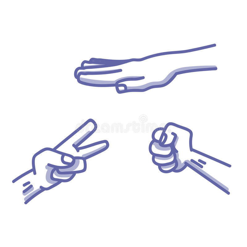 Paper, Scissors, Stone game illustration royalty free illustration