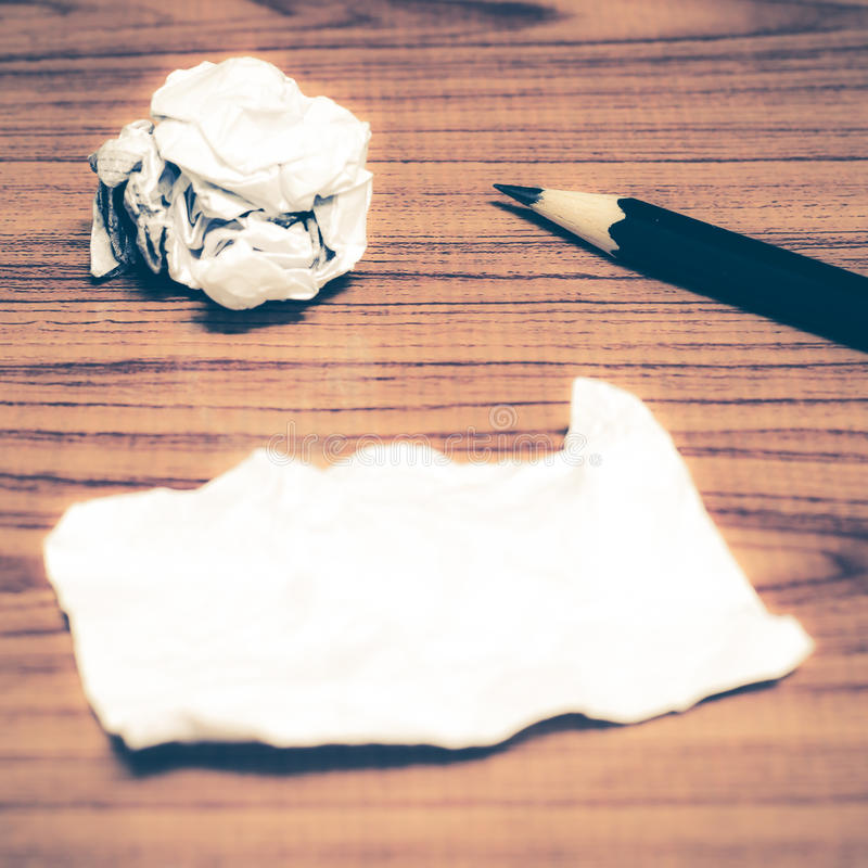 Free Paper Scrap And Crumpled With Pencil Royalty Free Stock Photo - 56514665