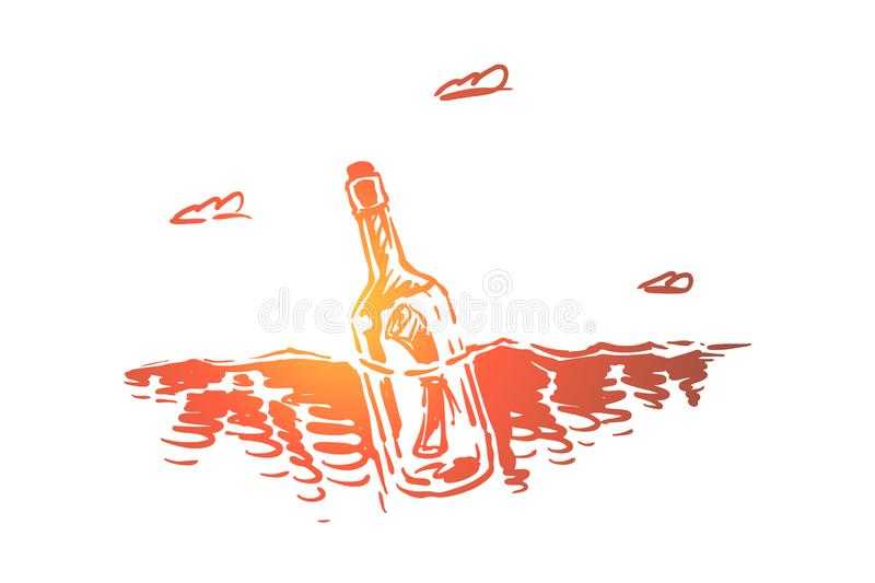 Paper scroll in glass bottle with cork, rescue note floating in ocean, shipwreck notice, SOS message vector illustration